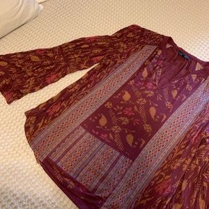 Lucky Brand Maroon Peasant Top